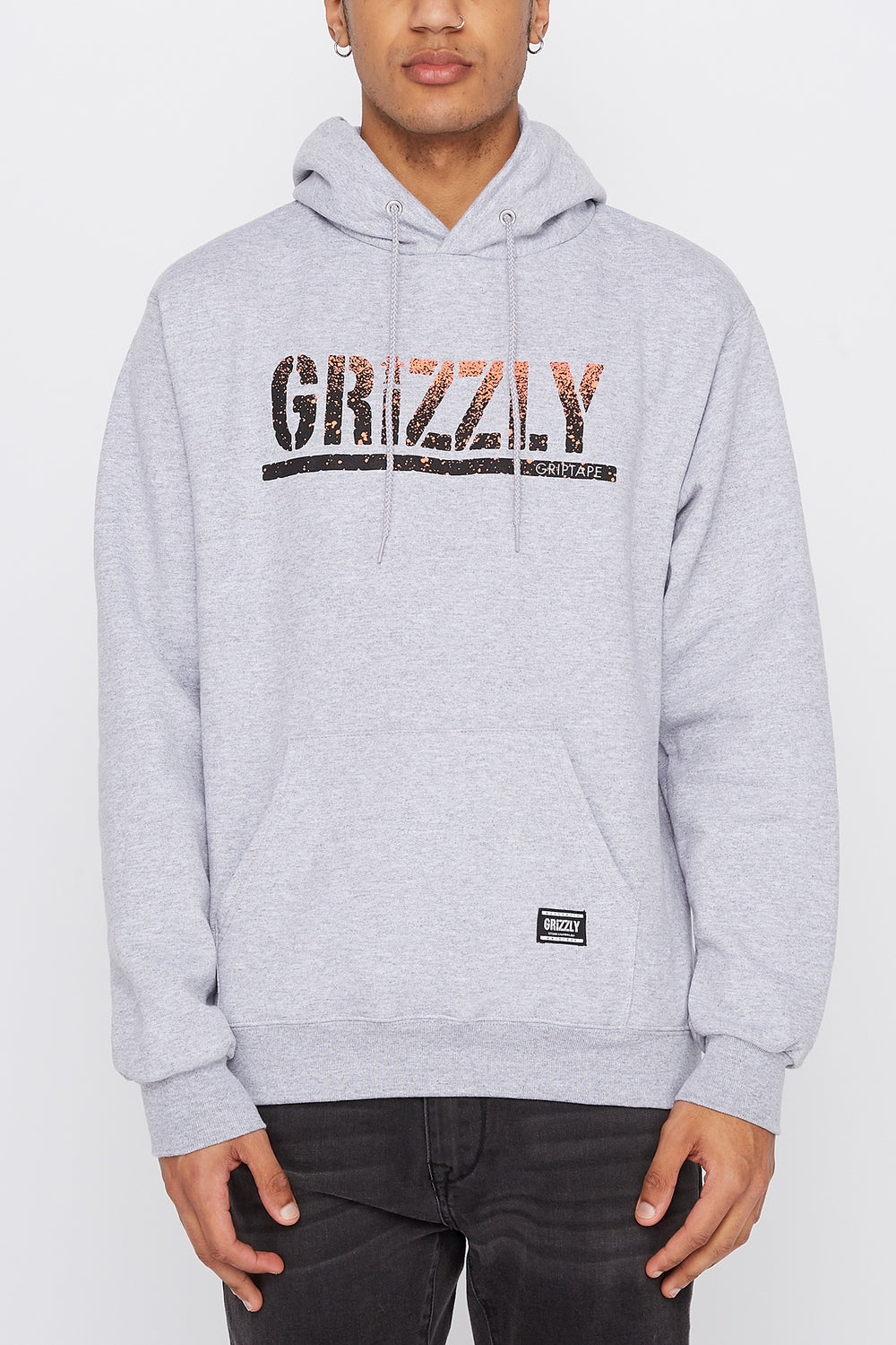 Grizzly Mens Gradient Logo Hoodie Heather Grey