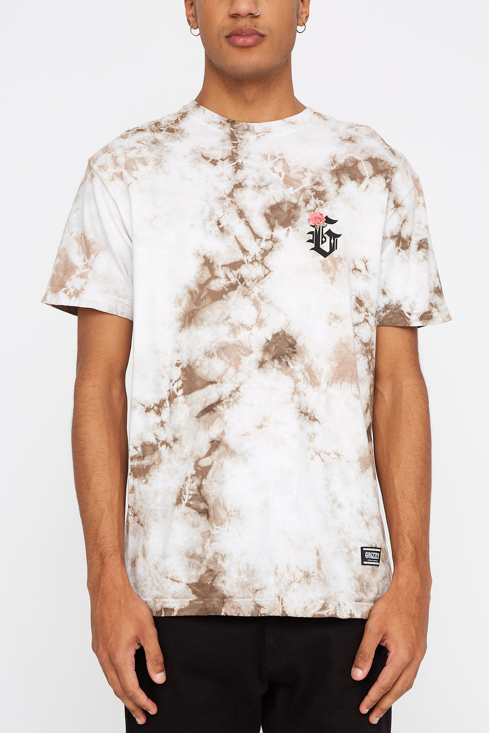 Grizzly Mens Tie-Dye T-Shirt Heather Grey