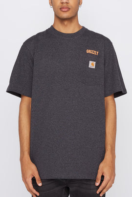 Grizzly Mens X Carhartt Stamp Work Pocket T-Shirt