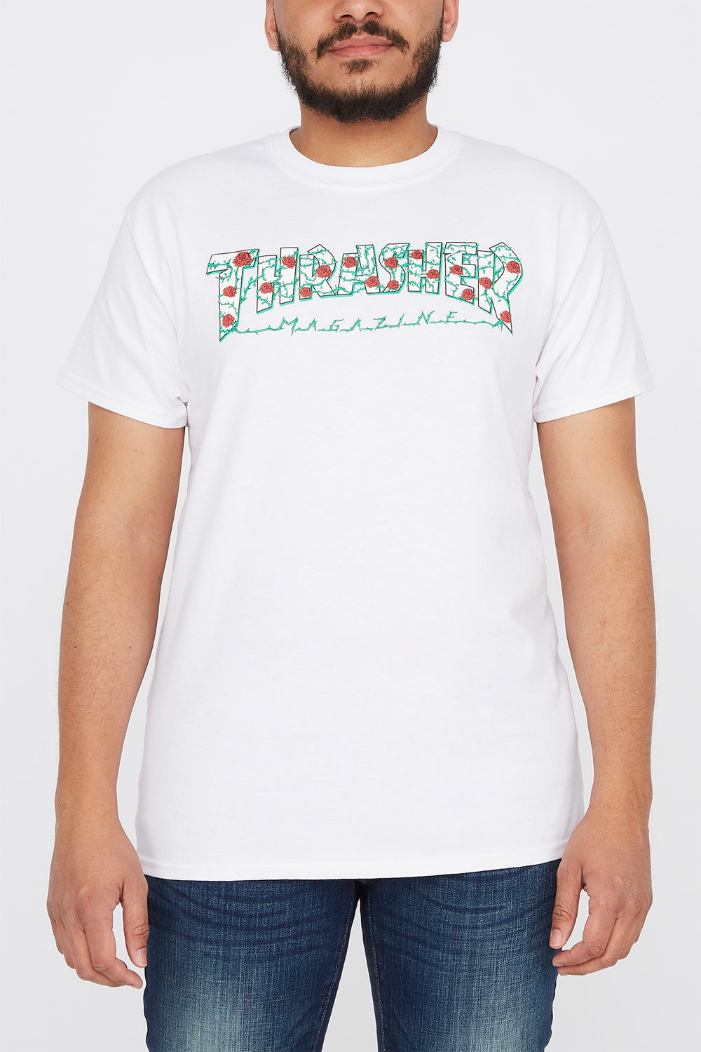 Thrasher Mens Rose Logo White T-Shirt White