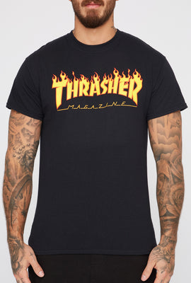 Thrasher Mens Black Flame Logo T-Shirt