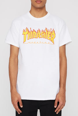 Thrasher Mens Flame Logo White T-Shirt