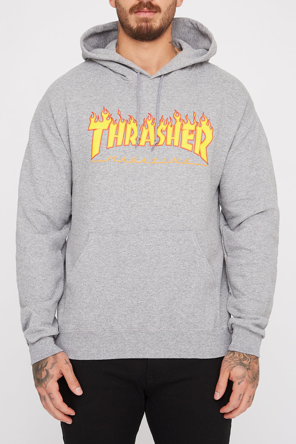 Thrasher Mens Grey Flame Logo Hoodie Heather Grey