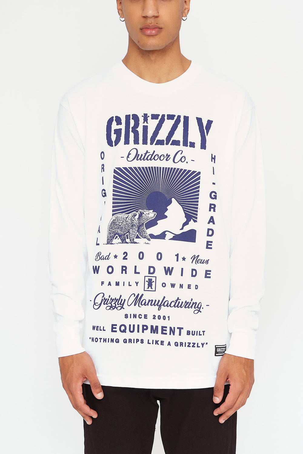 Grizzly Mens Tagline Long Sleeve White