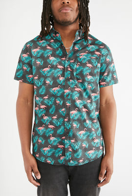West49 Mens Flamingo Print Button-Up