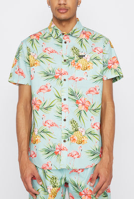 Zoo York Mens Pink Flamingo Button-Up Shirt