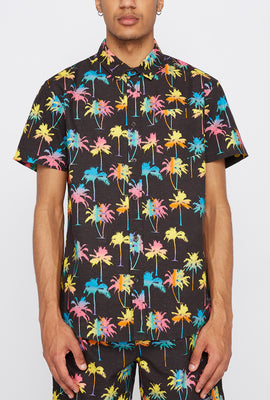 West49 Mens Neon Palm Tree Button-Up Shirt