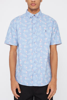 Artistry In Motion Mens Flamingo Print Button-Up Shirt