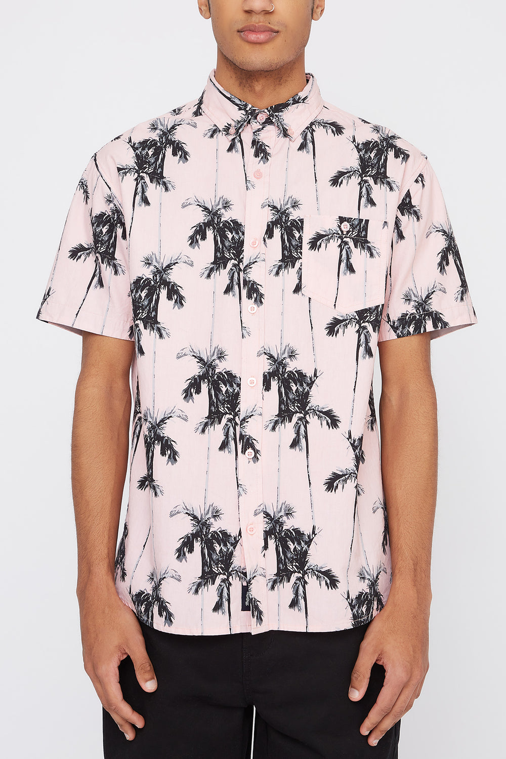 Artistry In Motion Mens Tropical Button-Up Shirt Pink