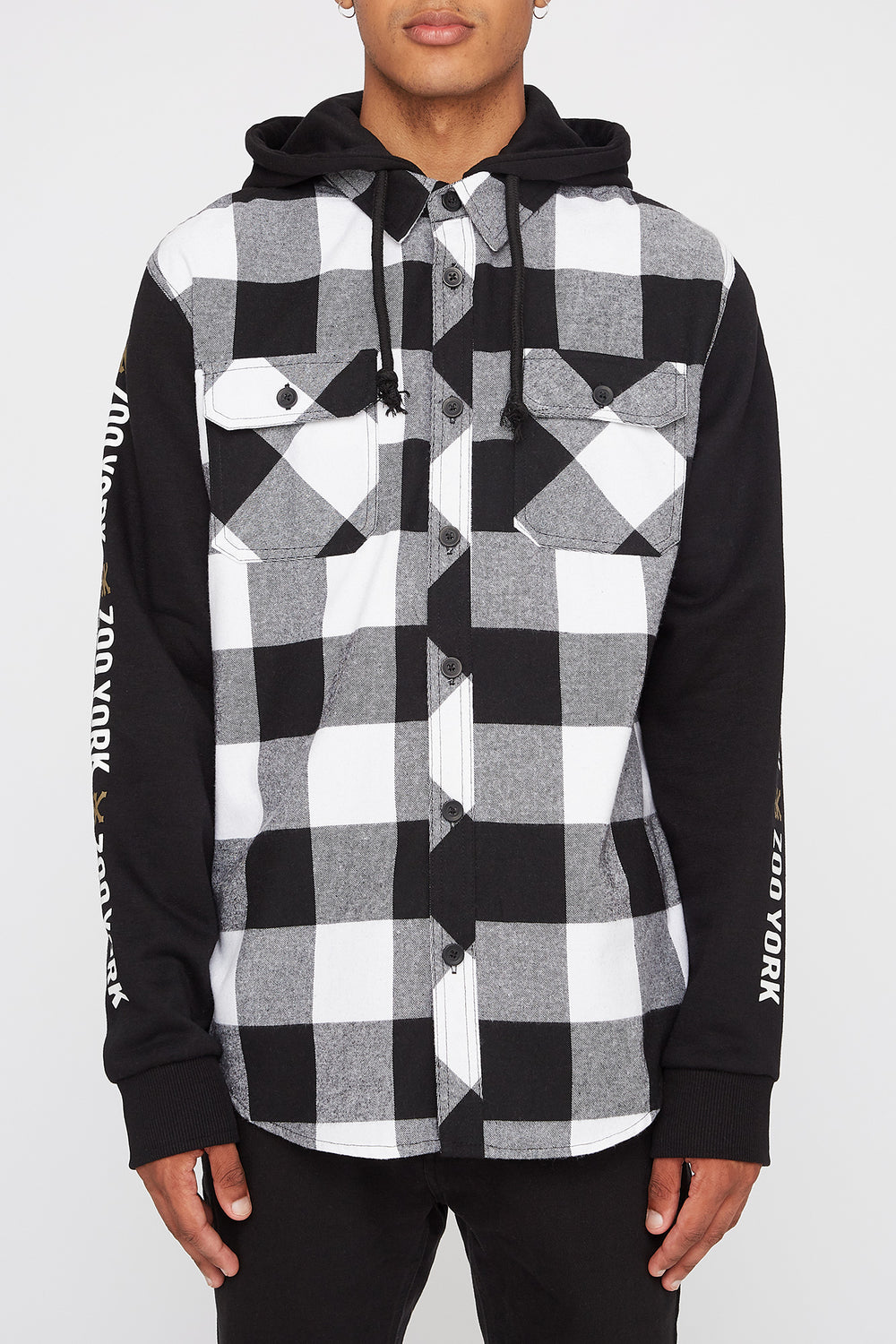 Zoo York Mens Flannel Hoodie White