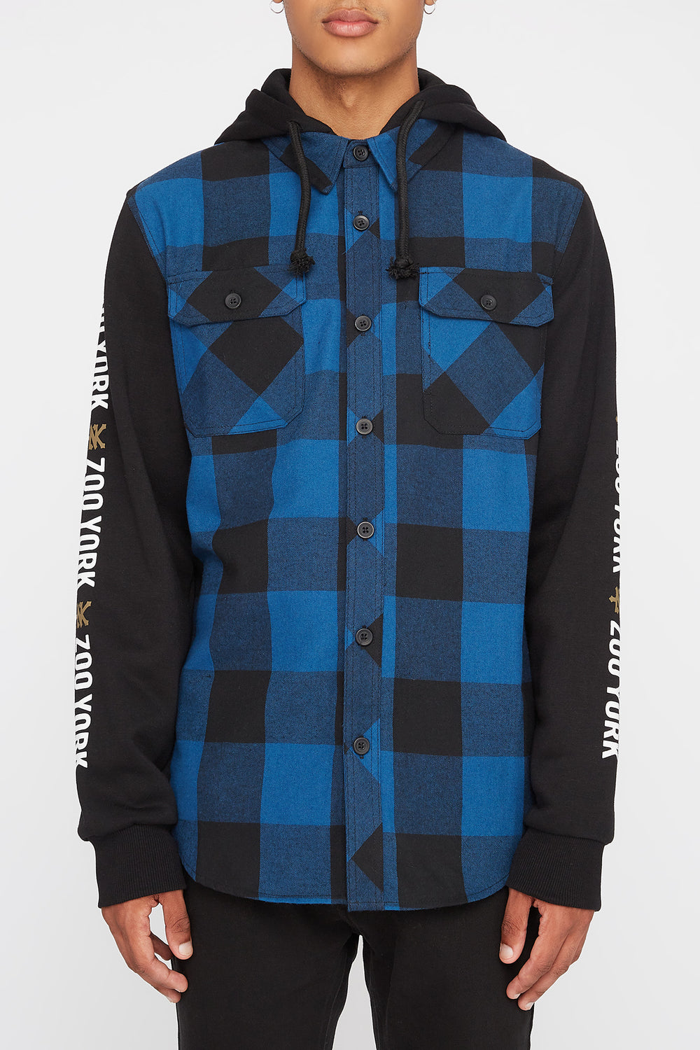 Zoo York Mens Flannel Hoodie Blue