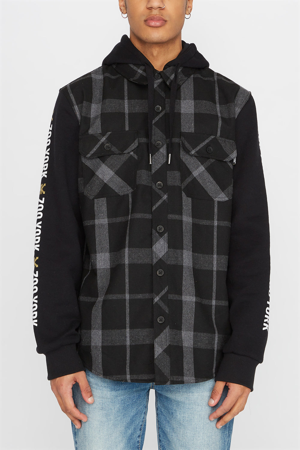 Zoo York Mens Flannel Hoodie Charcoal
