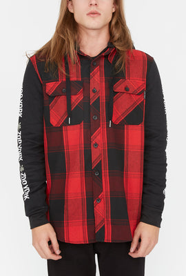 Zoo York Mens Hooded Flannel Button-Up Shirt