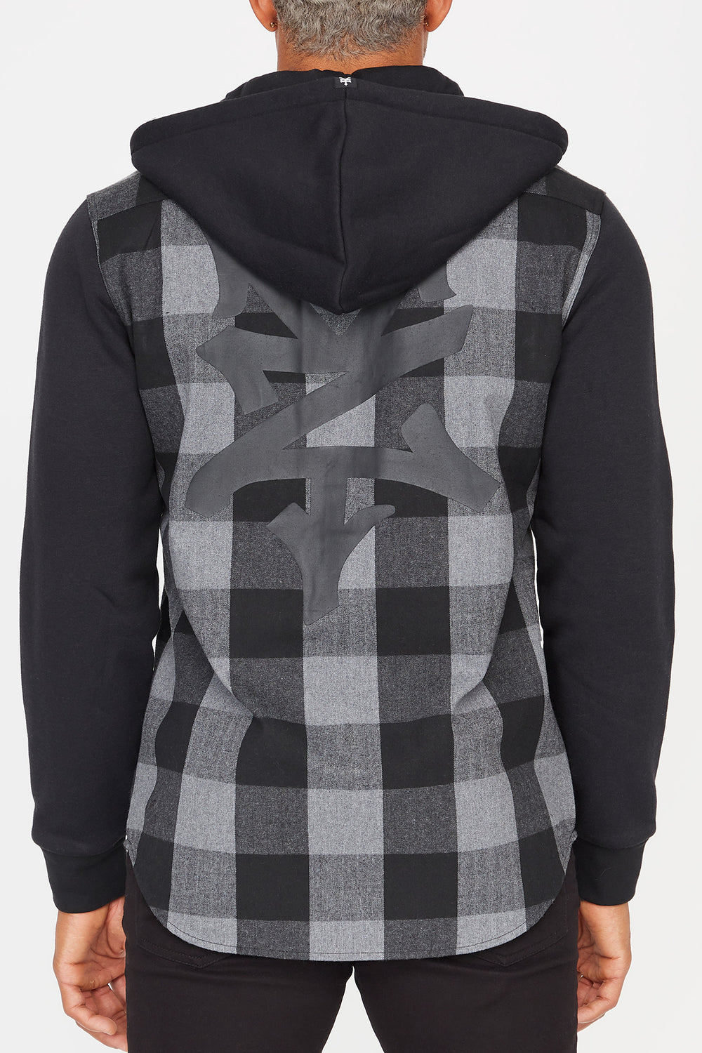 Zoo York Mens Hooded Flannel Button-Up Shirt Charcoal