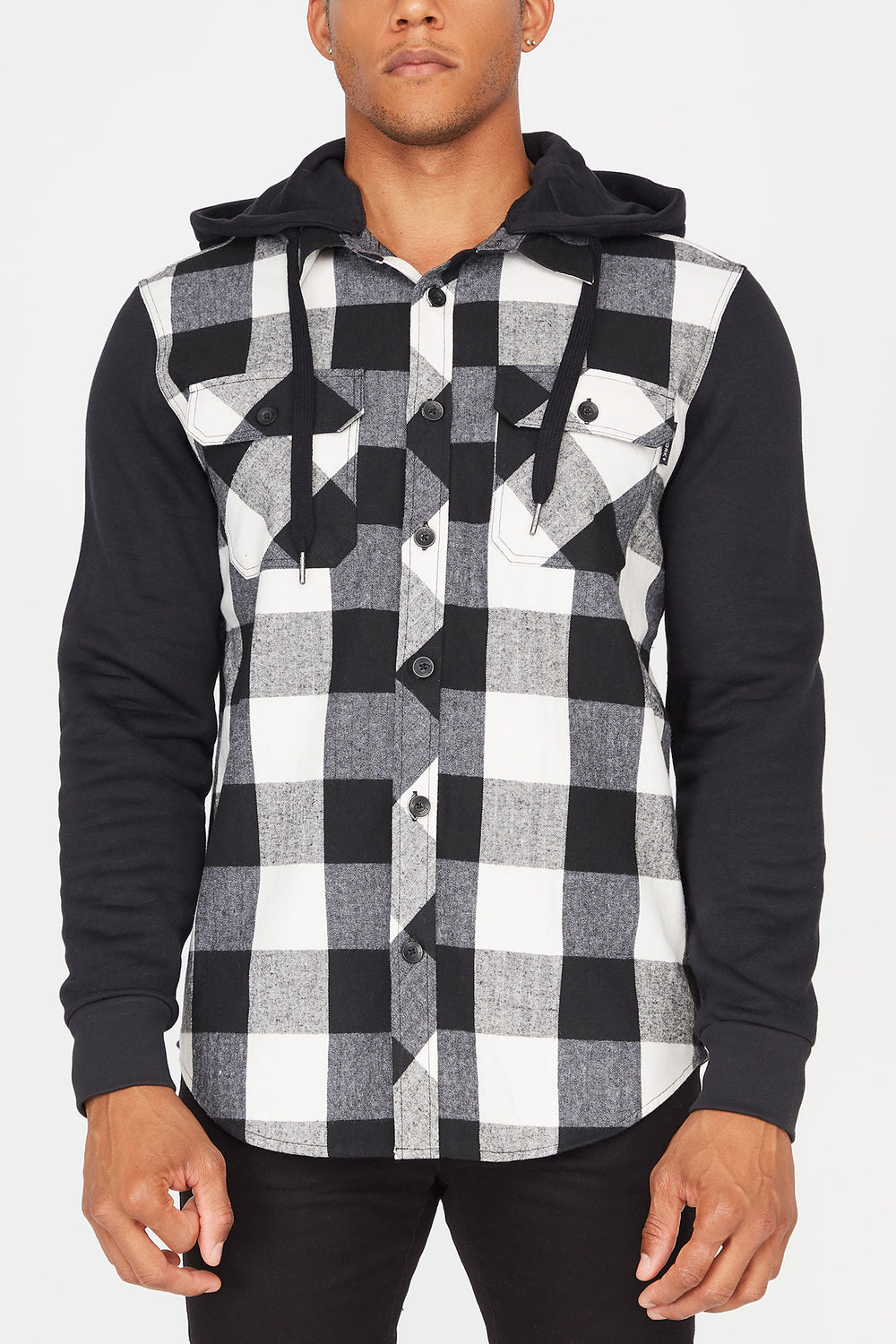 Zoo York Mens Hooded Flannel Button-Up Shirt White