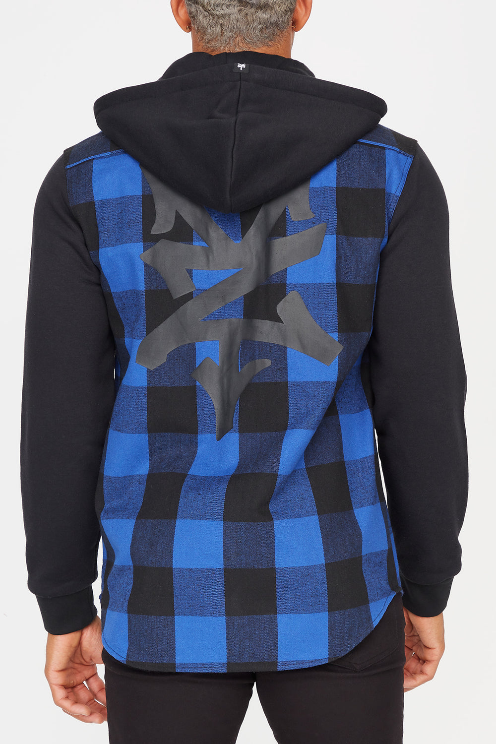 Zoo York Mens Hooded Flannel Button-Up Shirt Blue