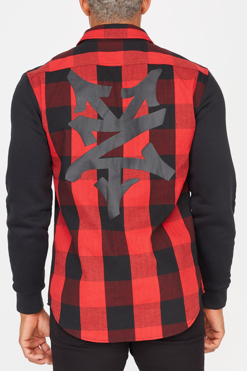 Zoo York Mens Hooded Flannel Button-Up Shirt Red