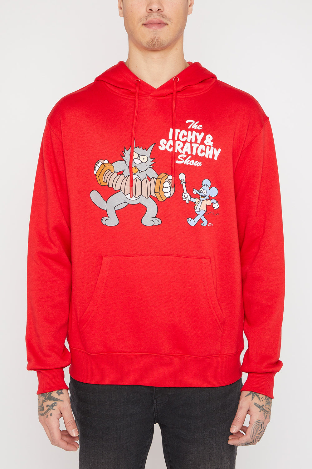 Mens Itchy & Scratchy Hoodie Red