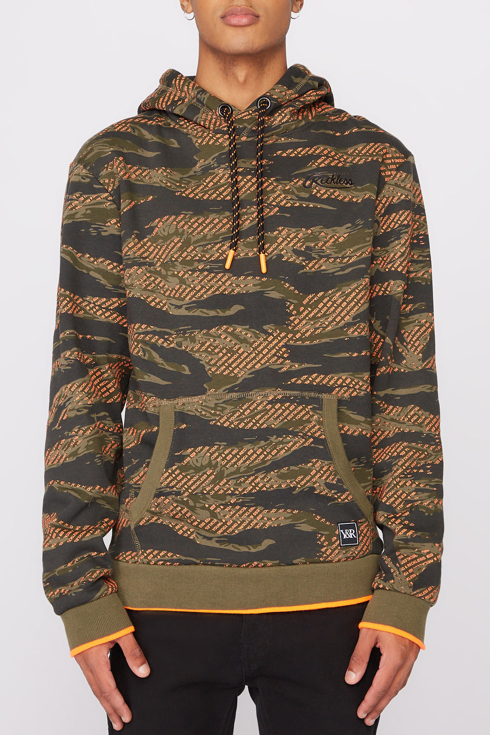 Young & Reckless Mens Tiger Camo & Neon Hoodie Black with White