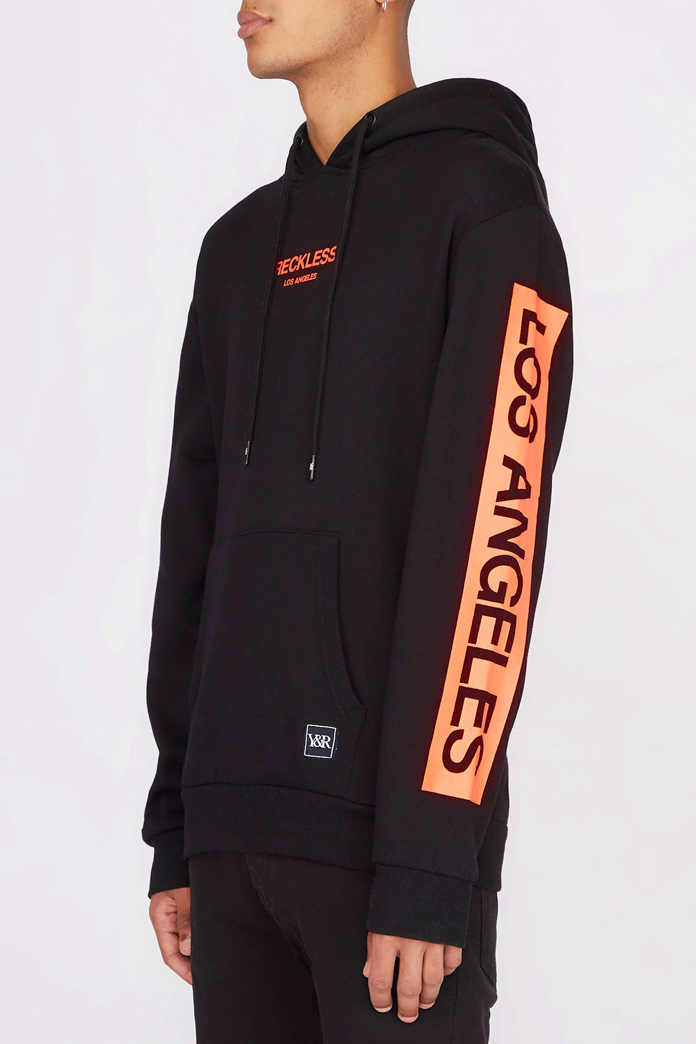 Young & Reckless Mens Neon Logo Popover Hoodie Black