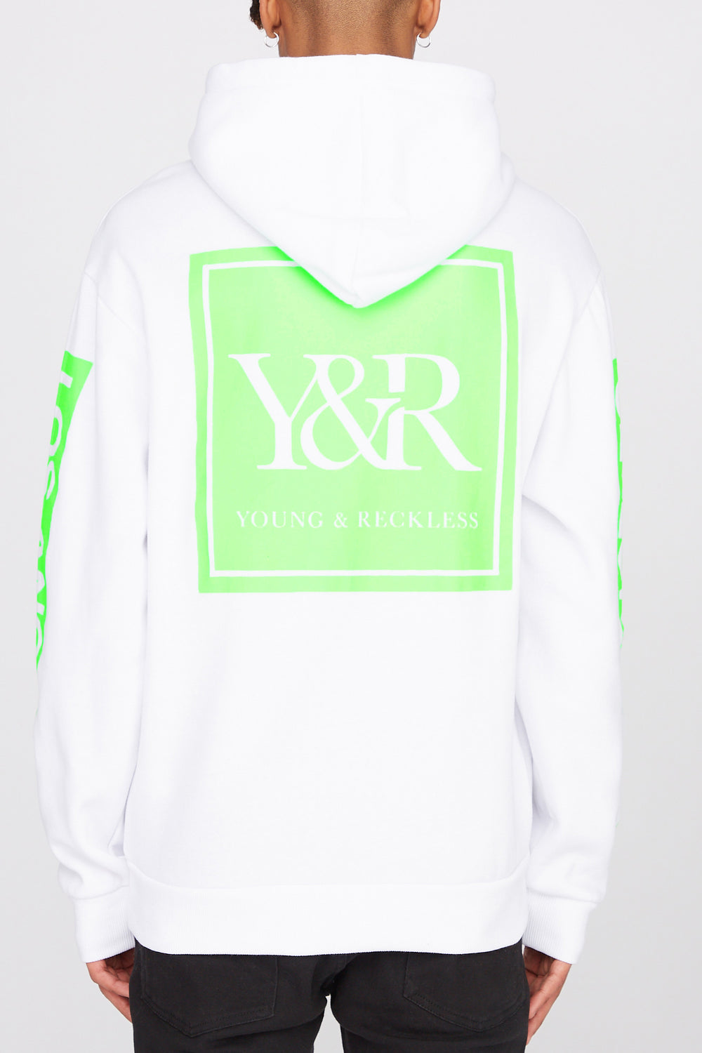 Young & Reckless Mens Neon Logo Popover Hoodie White