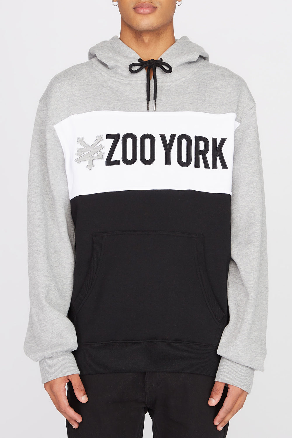 Zoo York Mens Neon Colour Block Hoodie Black