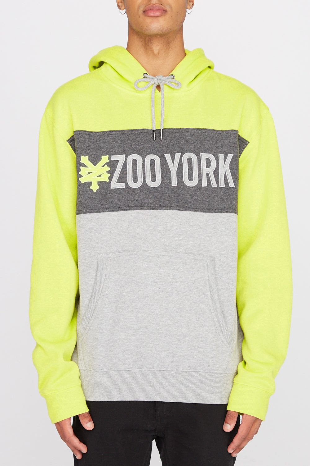 Zoo York Mens Neon Colour Block Hoodie Neon Yellow