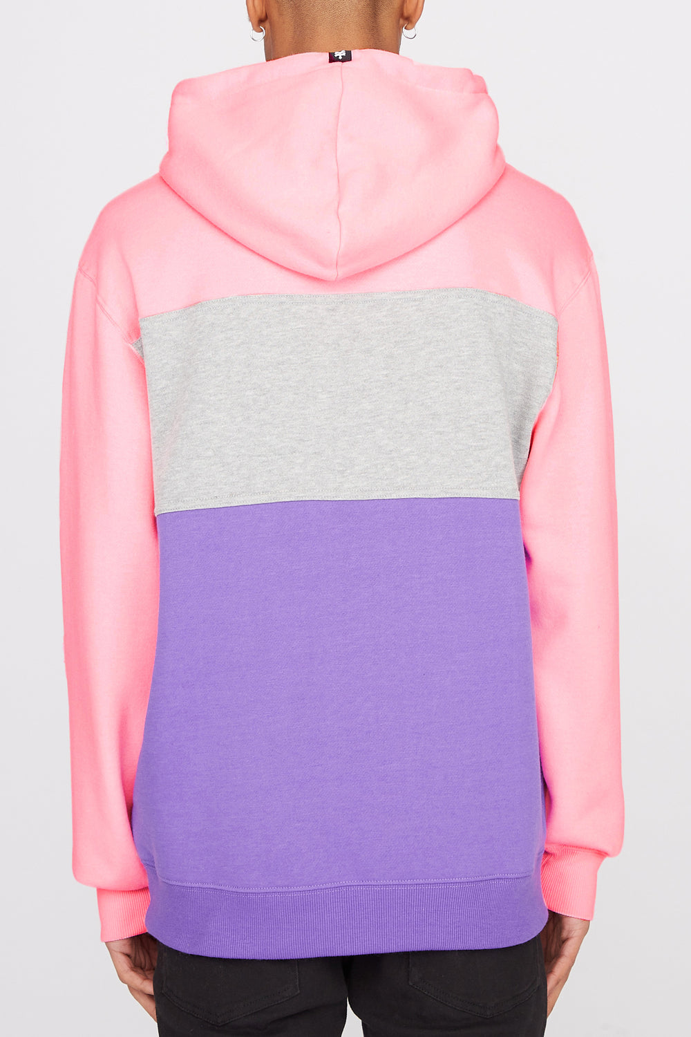 Zoo York Mens Neon Colour Block Hoodie Neon Pink