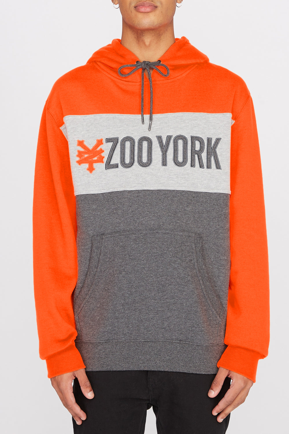 Zoo York Mens Neon Colour Block Hoodie Neon Orange