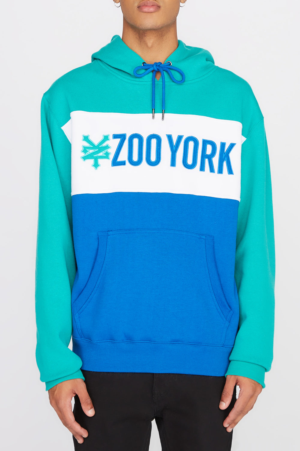 Zoo York Mens Neon Colour Block Hoodie Jade
