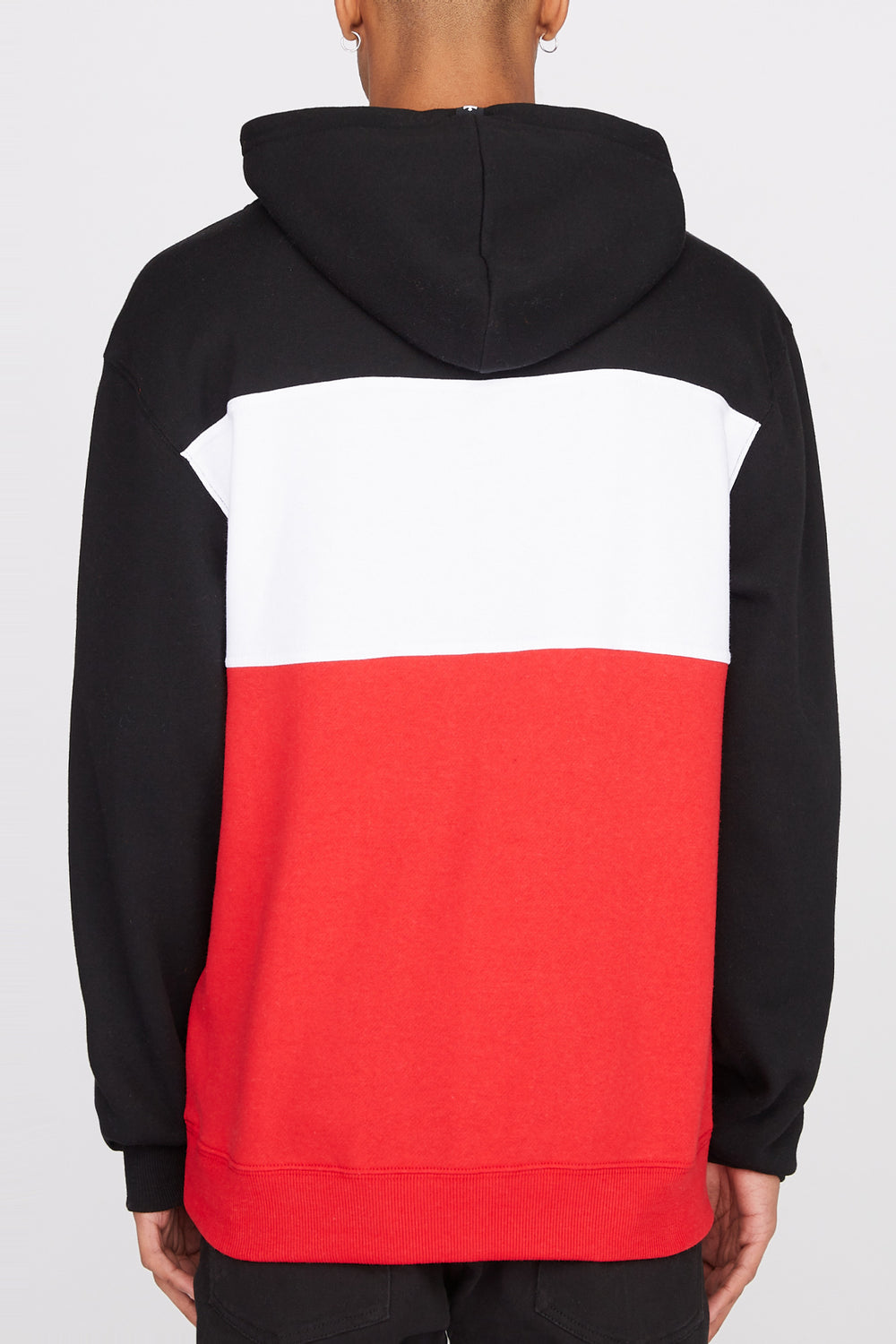 Zoo York Mens Neon Colour Block Hoodie Red