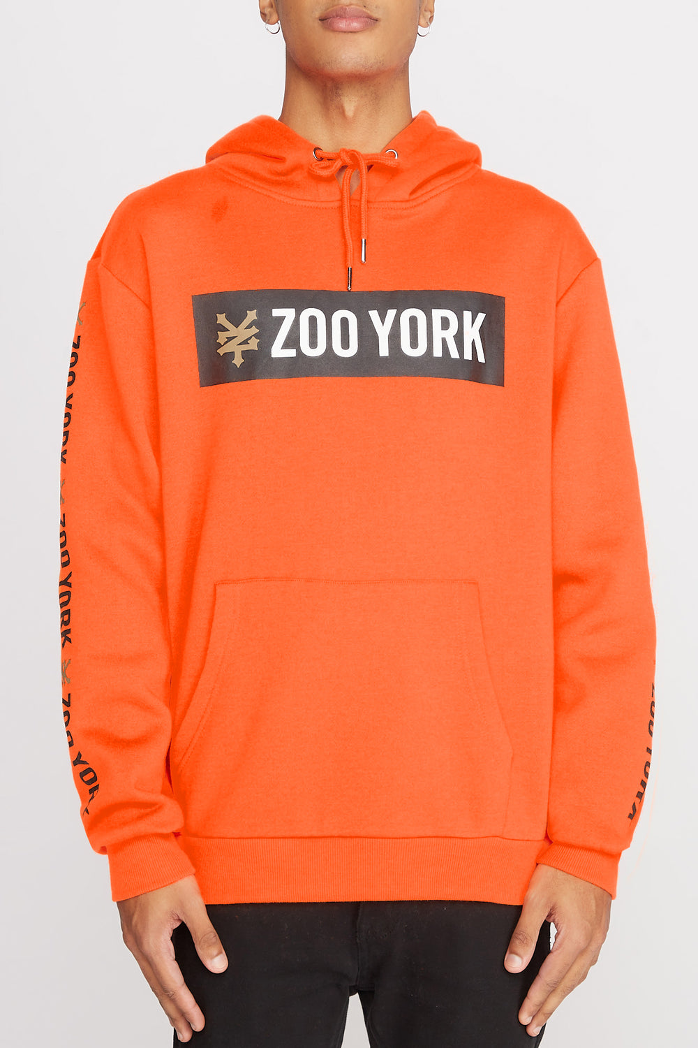 Zoo York Mens Classic Logo Hoodie Neon Orange
