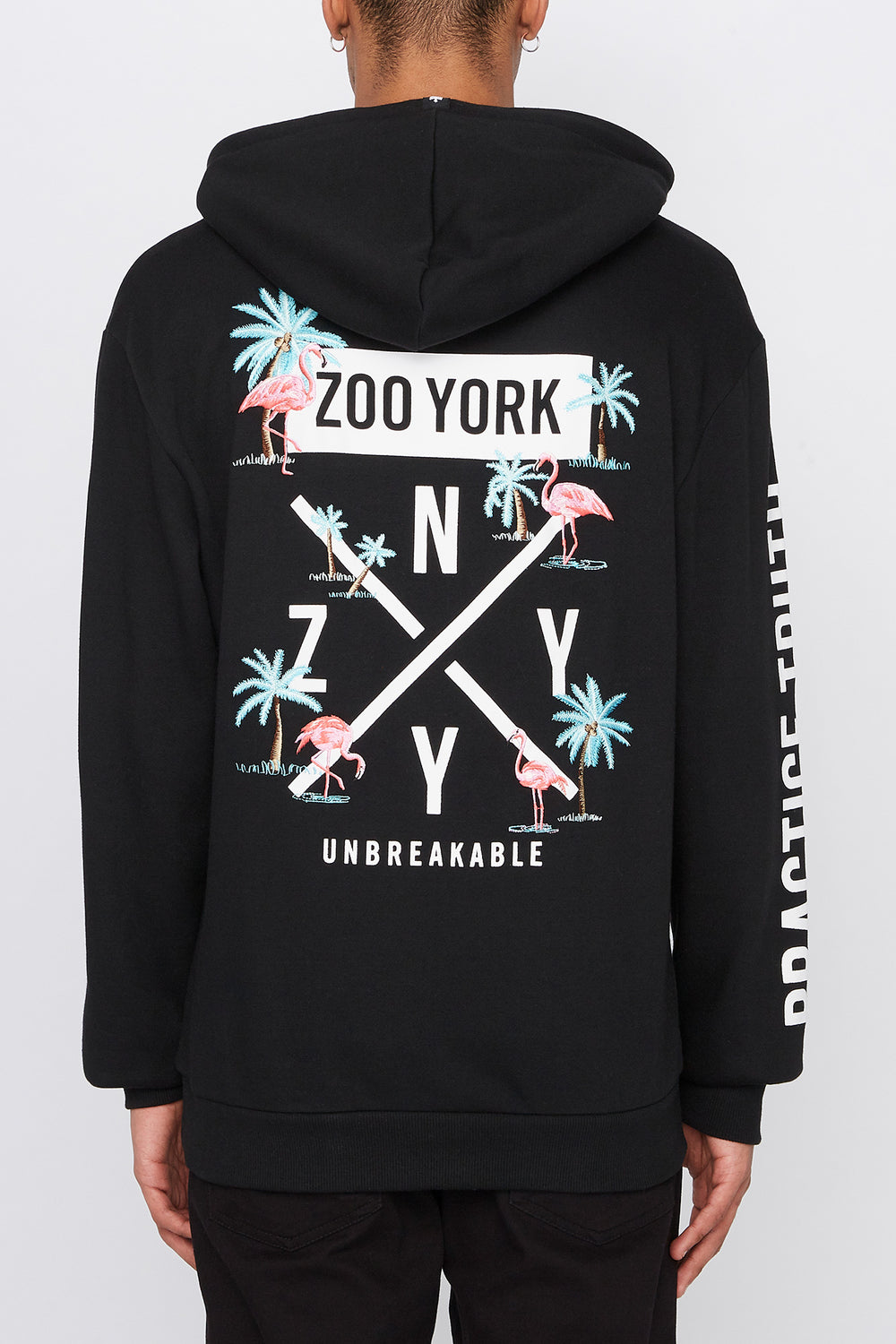 Zoo York Mens Pink Flamingo Hoodie Black