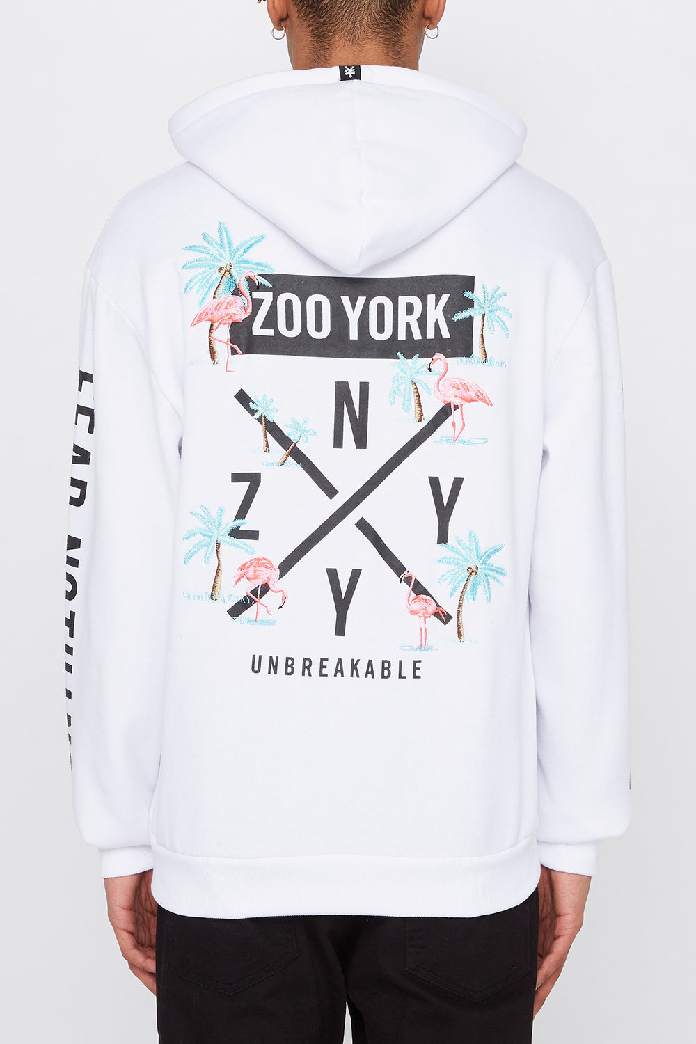 Zoo York Mens Pink Flamingo Hoodie White