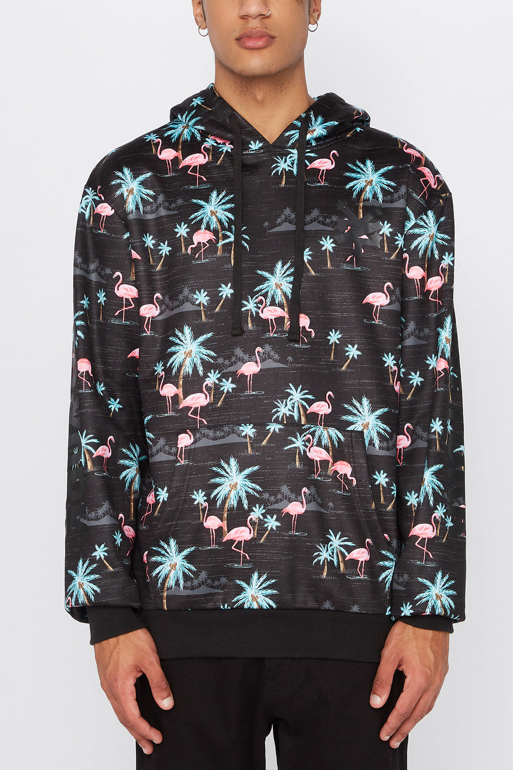 Zoo York Mens Pink Flamingo Print Hoodie Charcoal
