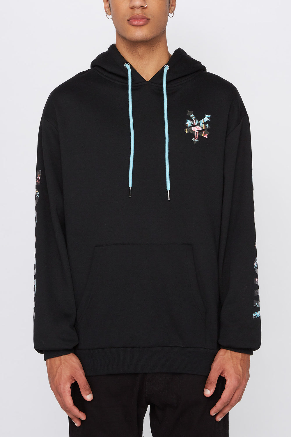 Zoo York Mens Pink Flamingo Logo Hoodie Black