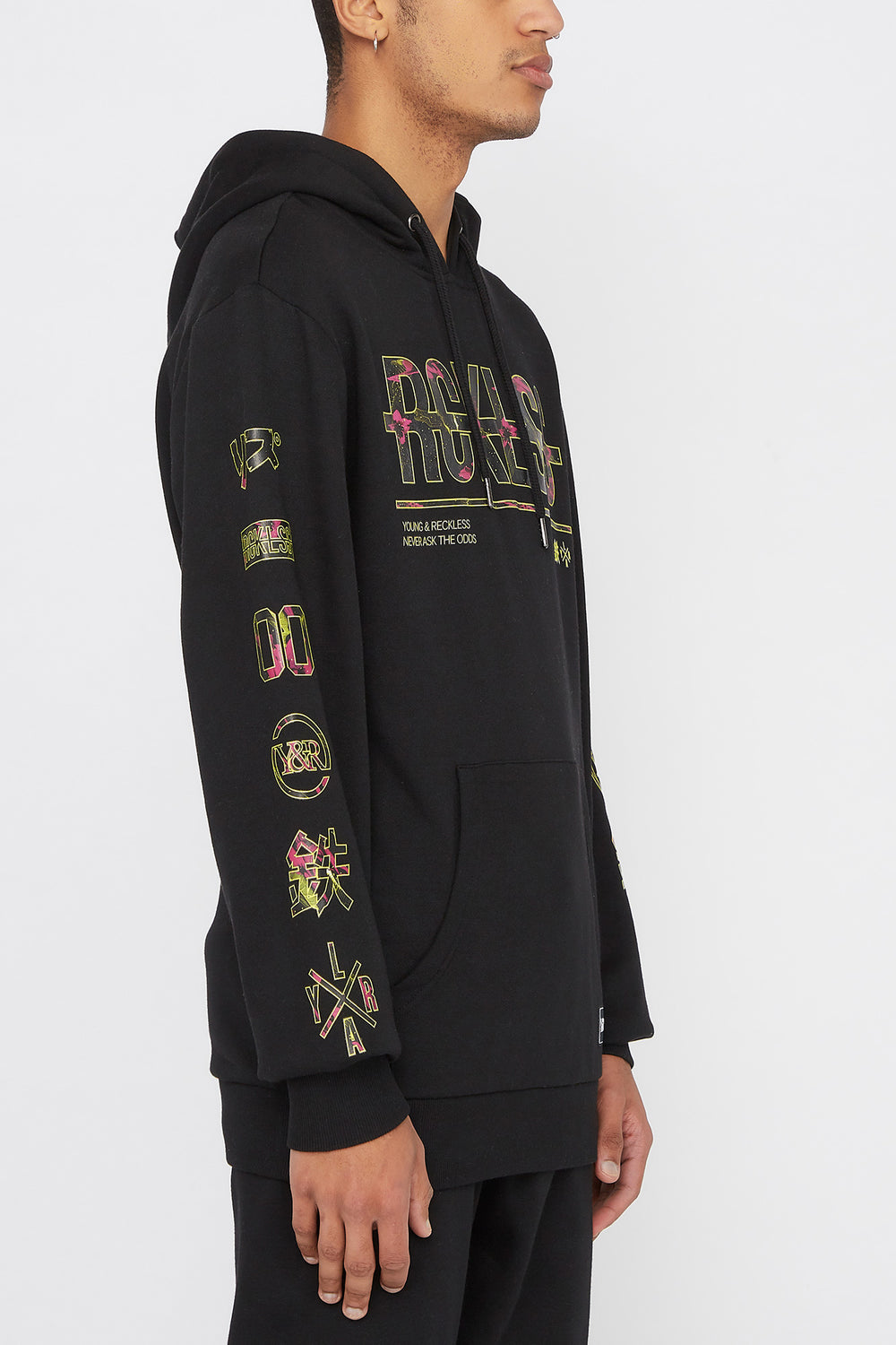 Young & Reckless Mens Neon Floral Hoodie Black