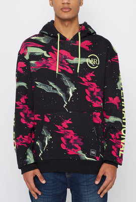 Young & Reckless Mens Neon Floral Pattern Hoodie