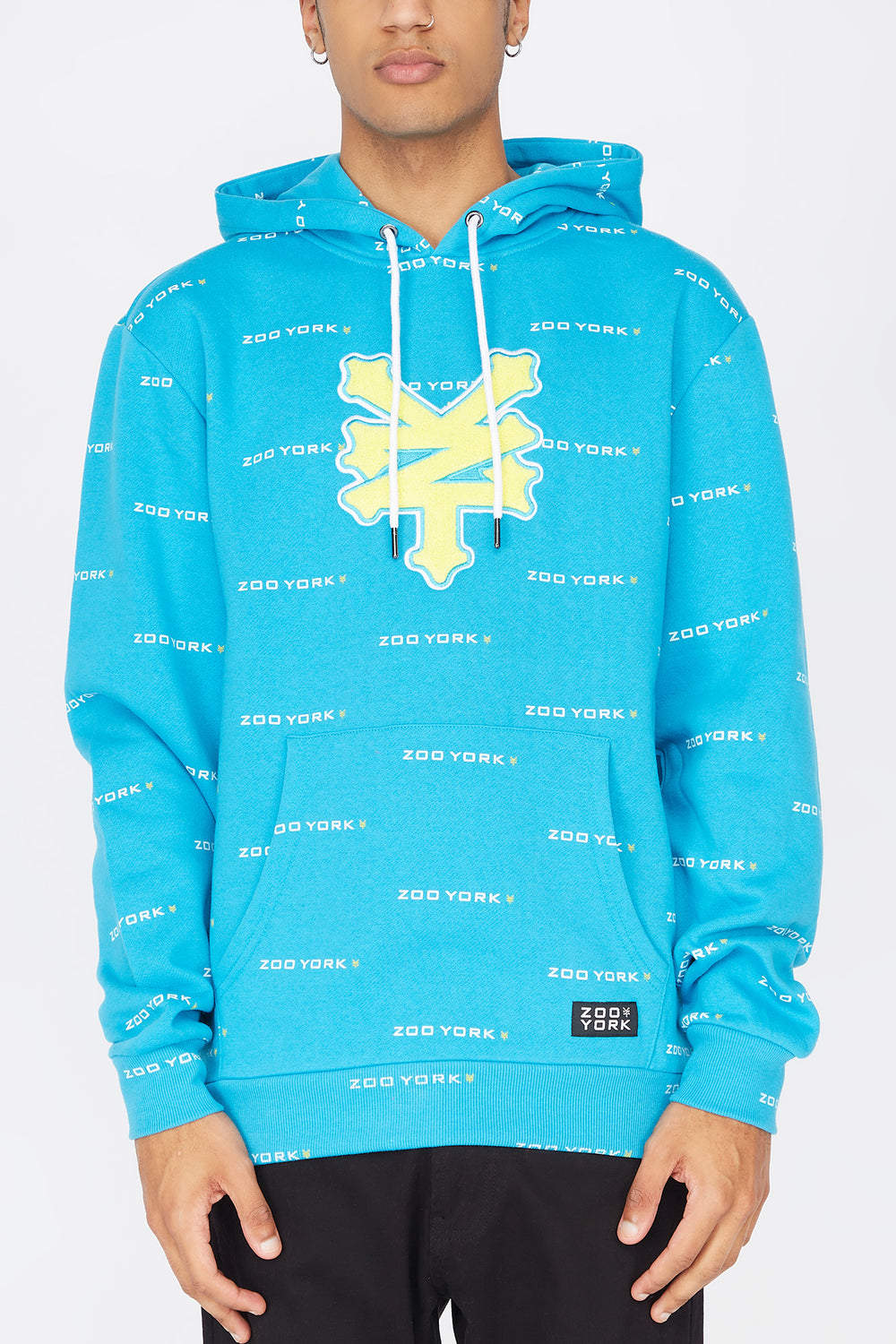 Zoo York Mens Chenille Patch Hoodie Ocean Blue