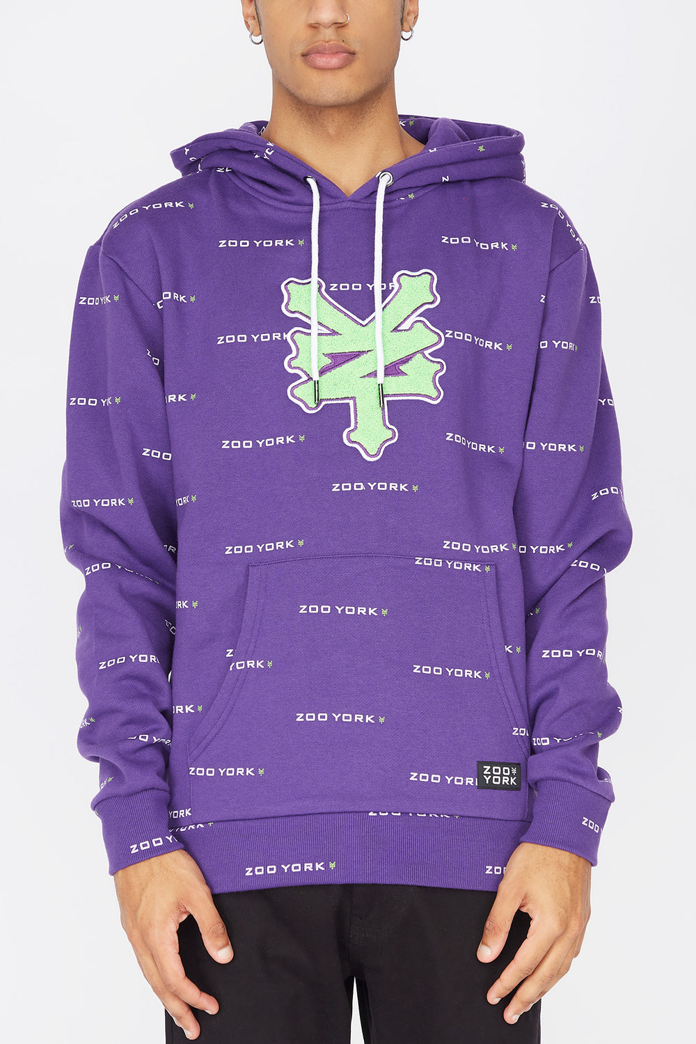 Zoo York Mens Chenille Patch Hoodie Purple