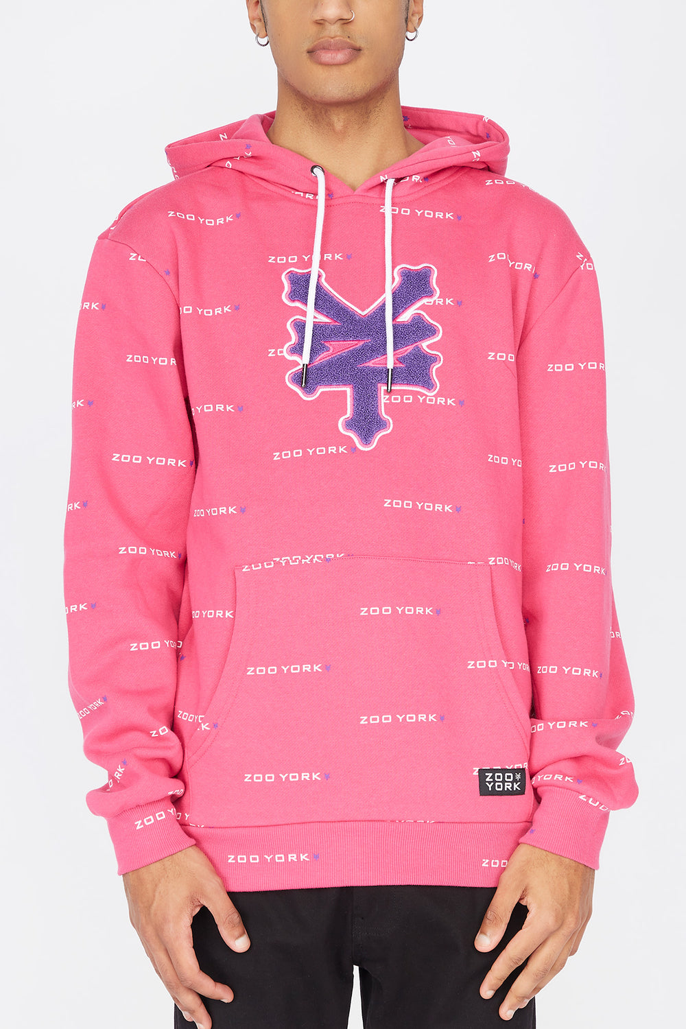 Zoo York Mens Chenille Patch Hoodie Magenta