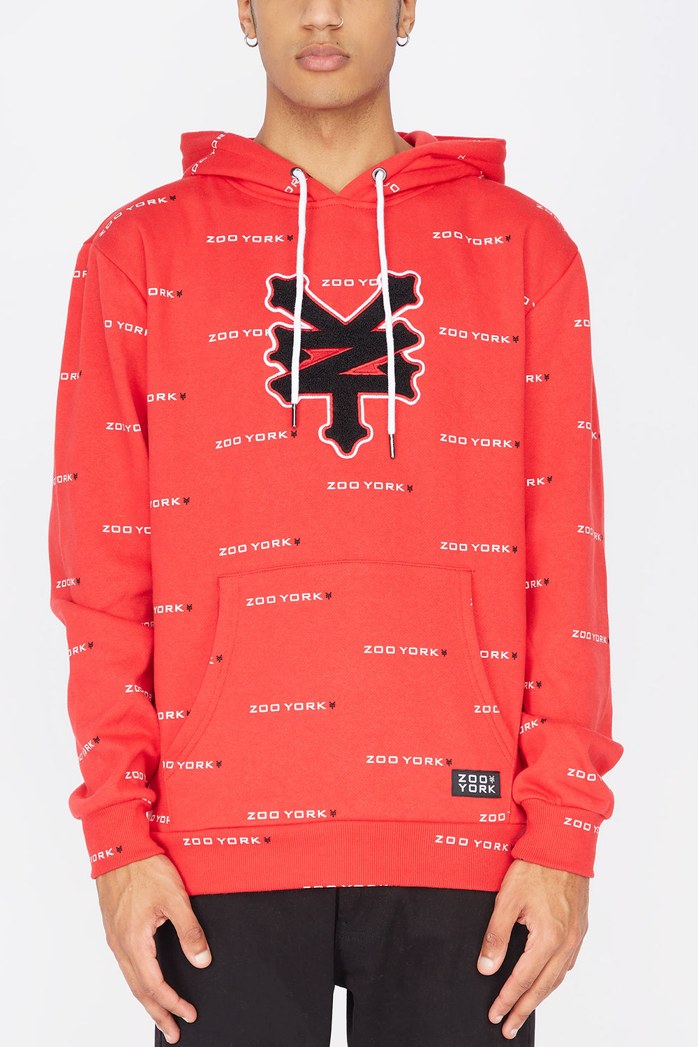 Zoo York Mens Chenille Patch Hoodie Red