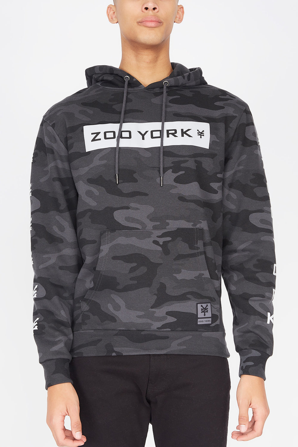 Zoo York Mens Reflective Camo Hoodie Black with White