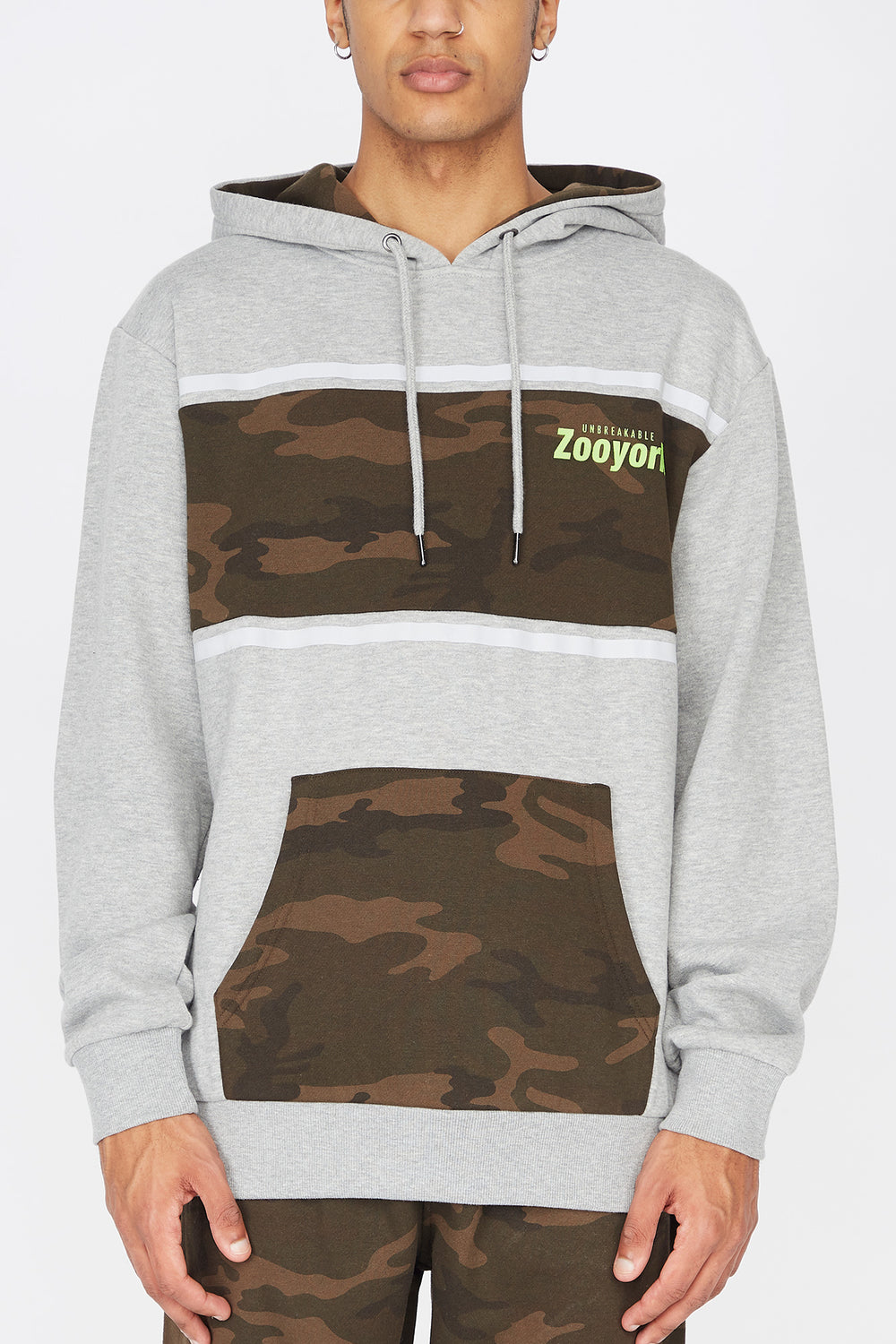 Zoo York Mens Camo Panel Hoodie Heather Grey