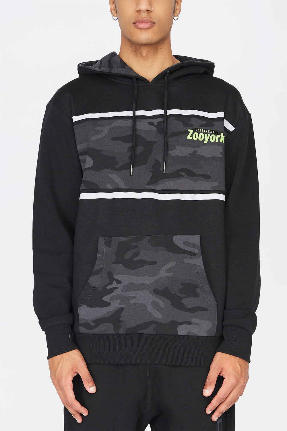 Zoo York Mens Camo Panel Hoodie Black