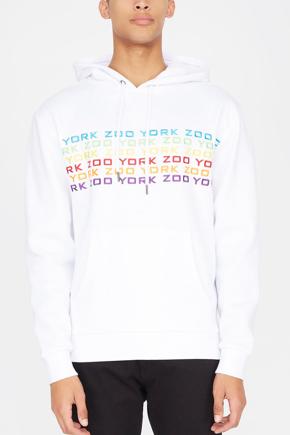 Zoo York Mens Rainbow Logo Hoodie White