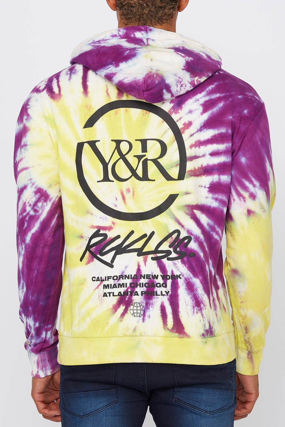Young & Reckless Mens Multi-City Tie-Dye Pullover Hoodie Green