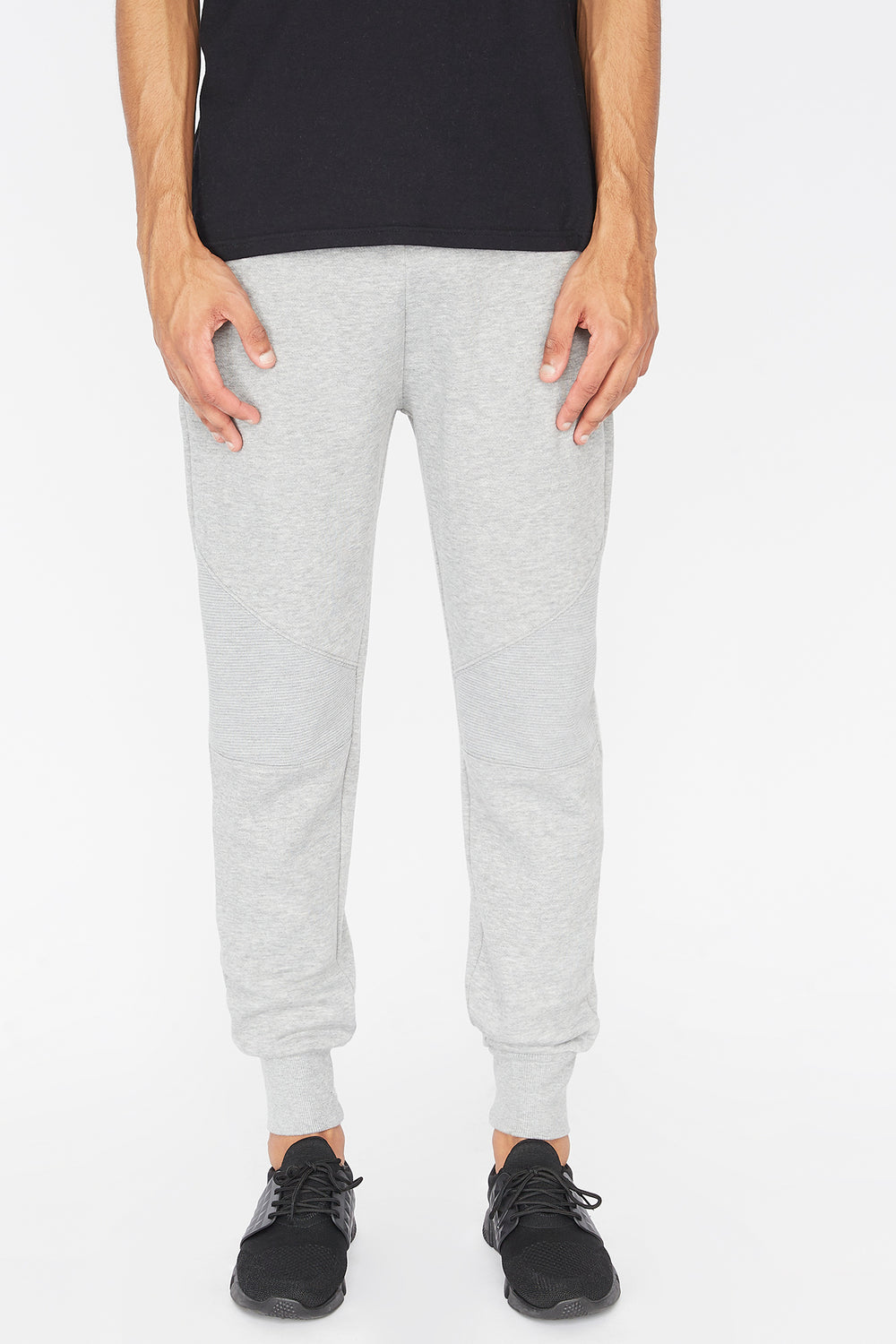 West49 Mens Solid Moto Jogger Heather Grey