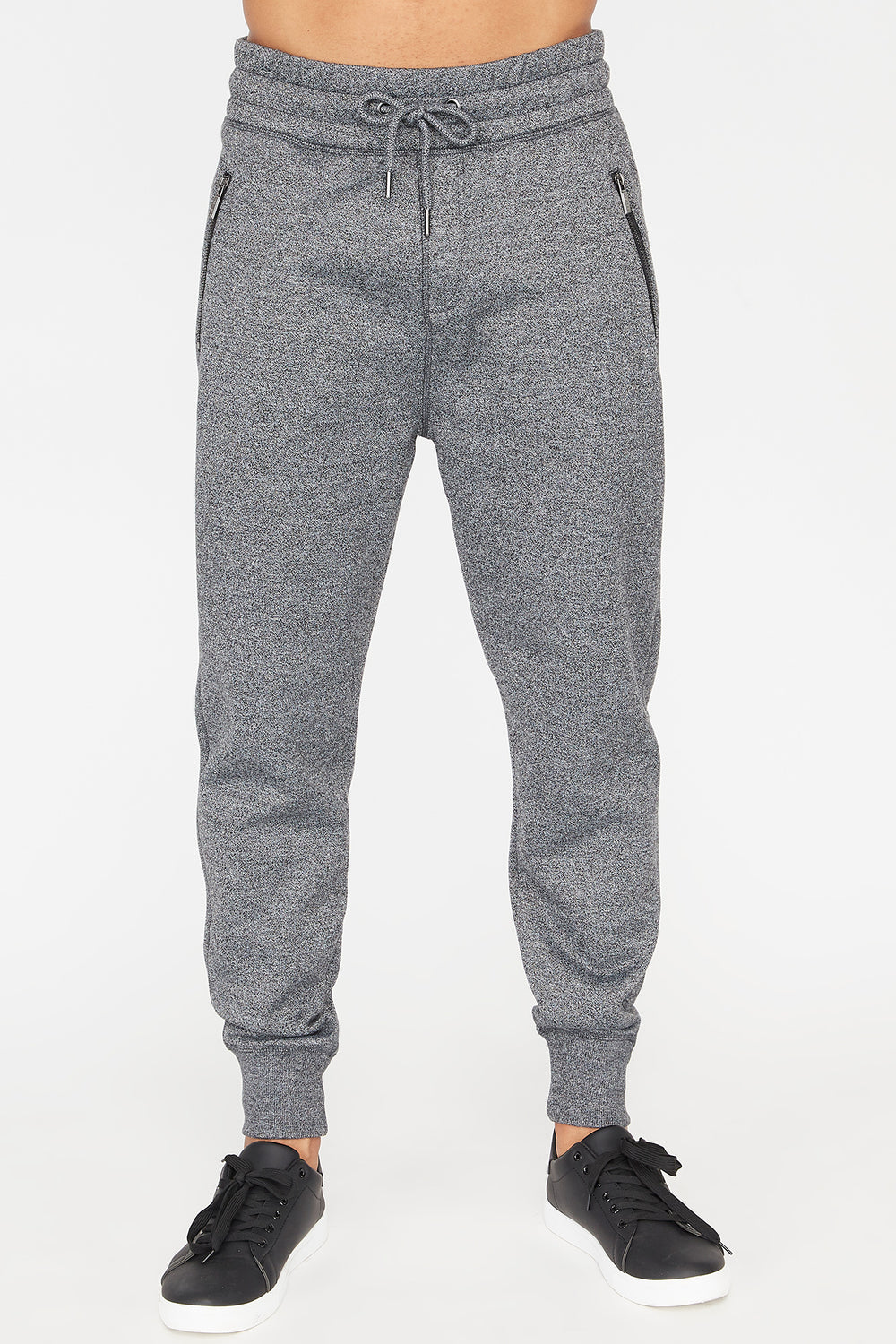 Zoo York Mens Solid Zip Jogger Black with White
