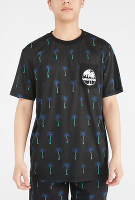 West49 Mens Palm Tree Print Pocket T-Shirt